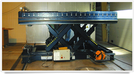 horizontaler Doppel Scherenhubtisch als Entladehilfe mit aufgebauter Rollenbahn