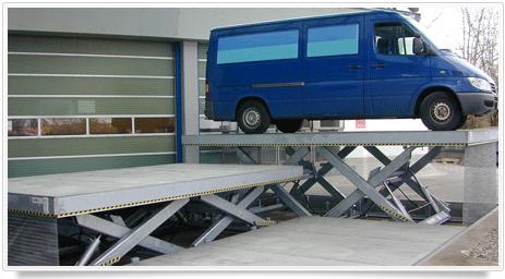 horizontaler Doppel Scherenhubtisch zum Entladen von Fahrzeugen
